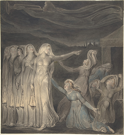 William Blake's The Parable of the Wise and Foolish Virgins (detail), ca. 1799-1800.